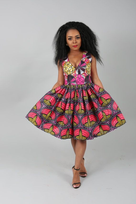 African clothing: NEW SALE LEENA skater african print dress.handmade ...