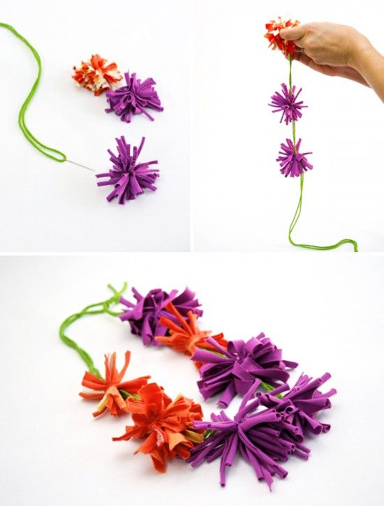 How to Make a Lei from recycled t-shirts!