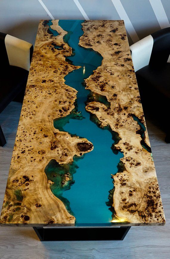 SOLD Turquoise river Mappa Burl table with epoxy i