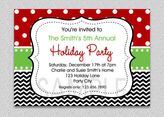 chevron holiday party invitation green and by thetrendybutterfly