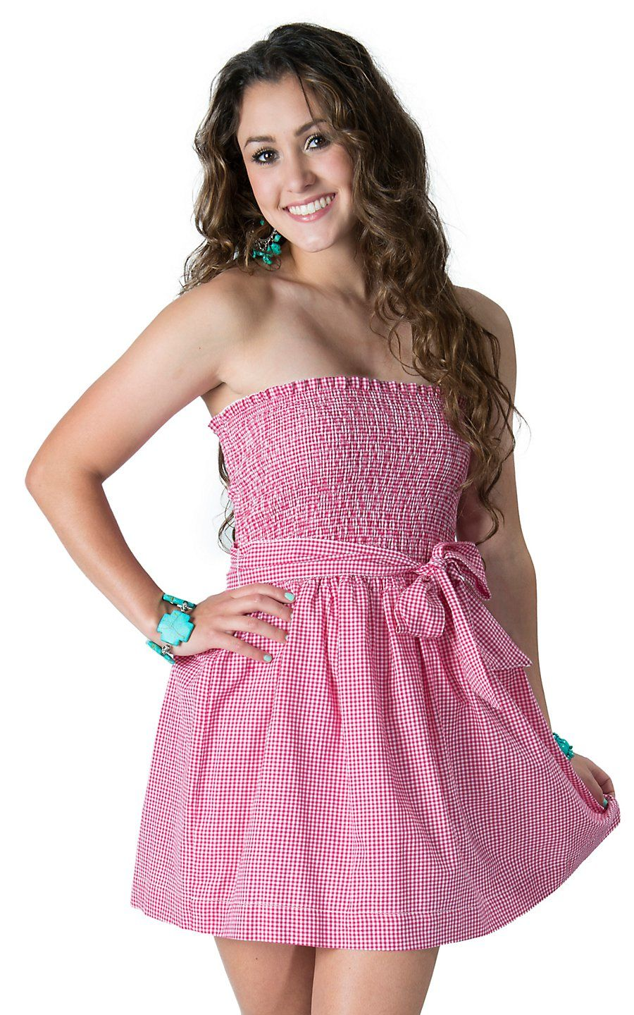 cc539f0e29e6 Panhandle Slim Women's Hot Pink & White Gingham Print Smocked Strapless  Dress