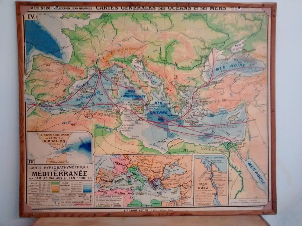 carte vidal lablache le bon coin Carte scolaire ancienne Brunhes Mer Méditerranée type Vidal