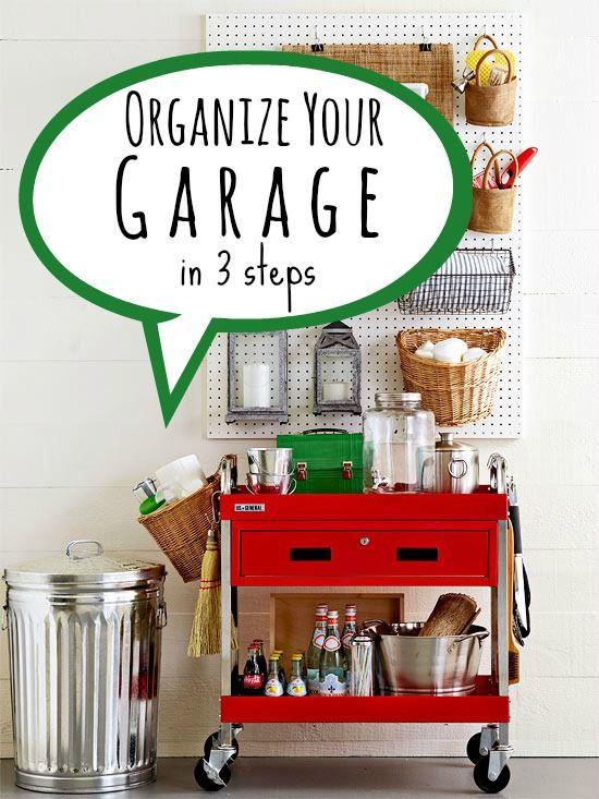 Organize Your Garage In 3 Steps Via Tipsaholic.com #garage #organization  #cleaning