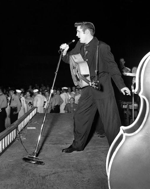 "Elvis performed at Russwood Park on July 4, 1956. Photographer Robert W. Dye had access most fans would have died for, watching the show on stage 10 feet from Elvis. Asked once about how he got to be on stage, Dye answered, ""It was the only safe place to be. Those girls in the audience would mob you."""