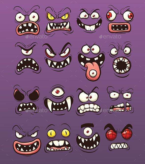 Cartoon Scary And Funny Monster Faces Vector Clip Art Illustration