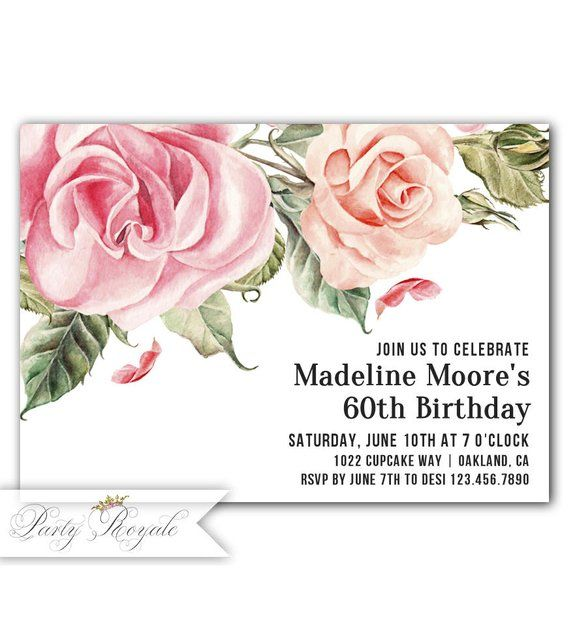60th Birthday Invitations For Women Invitation Her Womens Elegant Formal Party Invites