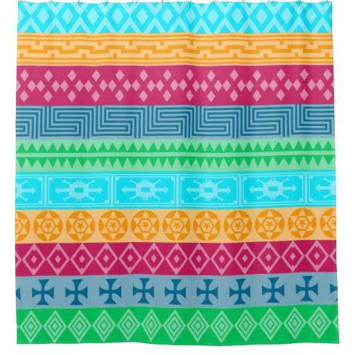 Funky Bright Tribal Aztec Pattern Shower Curtain