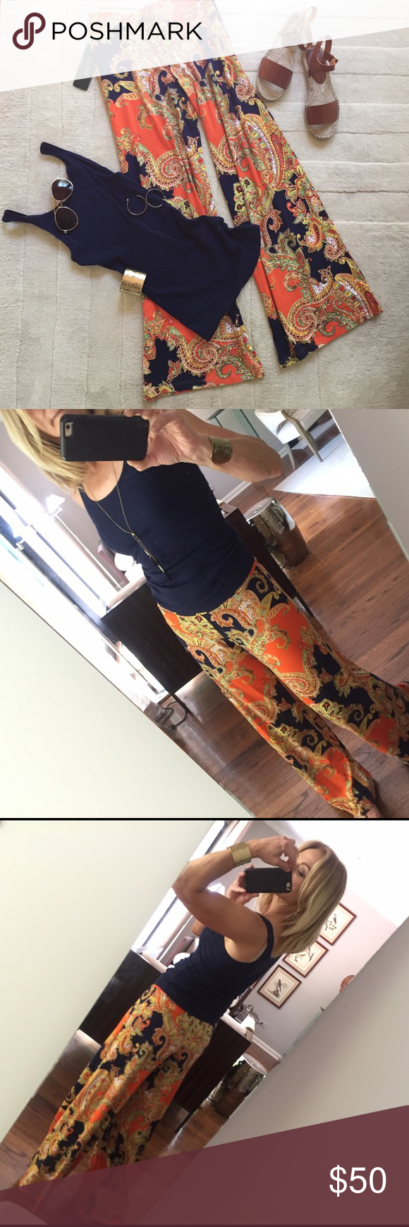 "Ralph Lauren paisley palazzo pants Super comfy palazzo pants from Ralph Lauren. Elastic waist, wide legs, pretty paisley print in mostly orange and navy blue.  29"" inseam. Brand new. Machine wash/flat dry. Ralph Lauren Pants Wide Leg"