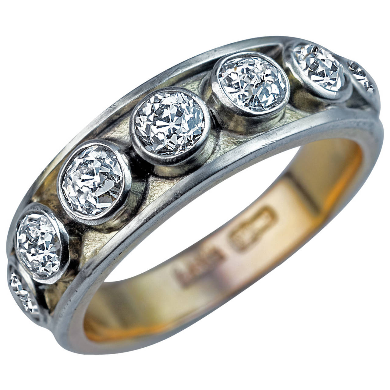 Antique Russian Men's Diamond Gold Band Ring Mens rings