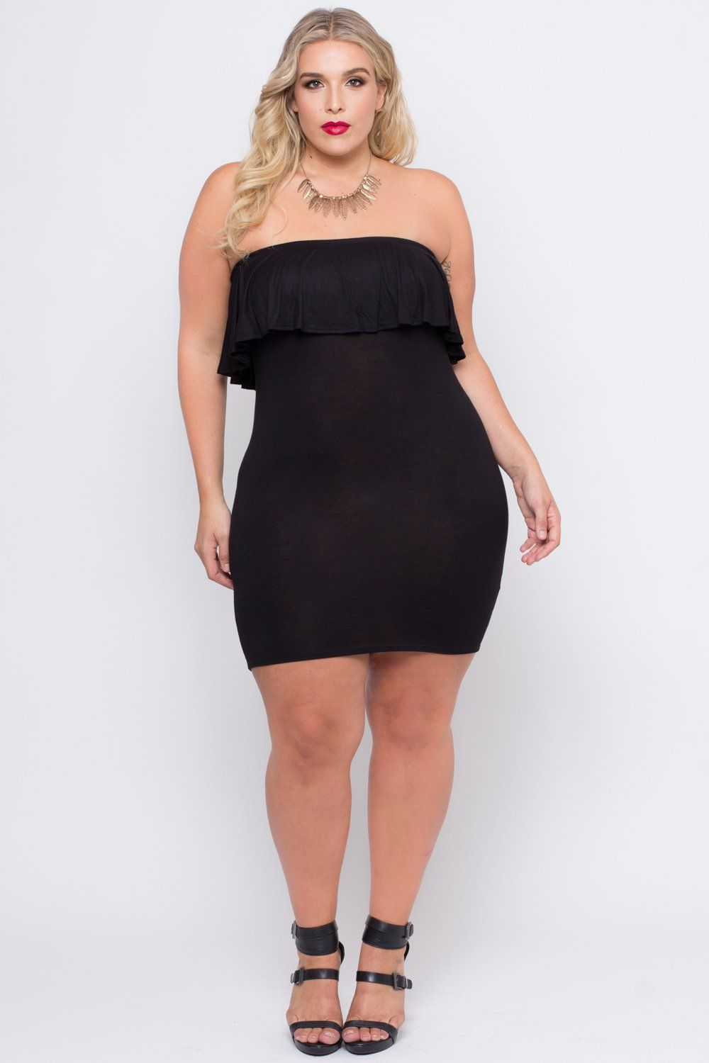 Plus Size Ruffle Frill Tube Dress - Black | Stephanie Viada ...