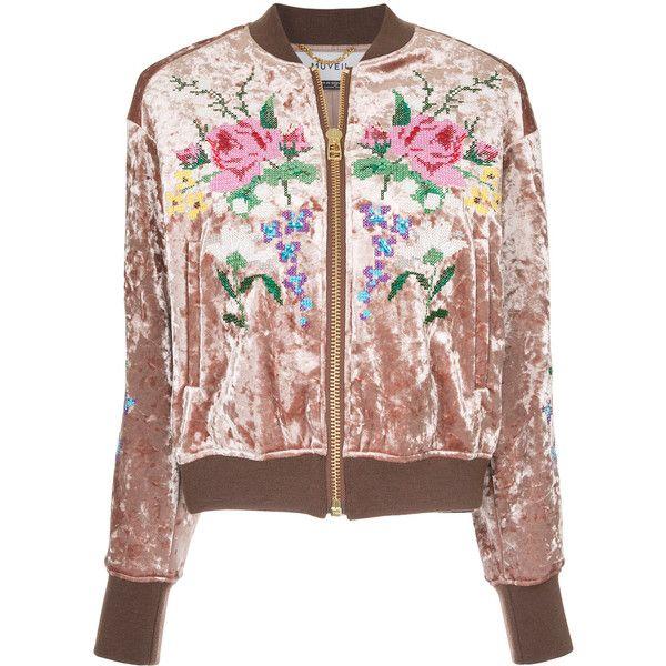 Muveil embroidered velvet bomber jacket (3.860 BRL) ❤ liked on ...