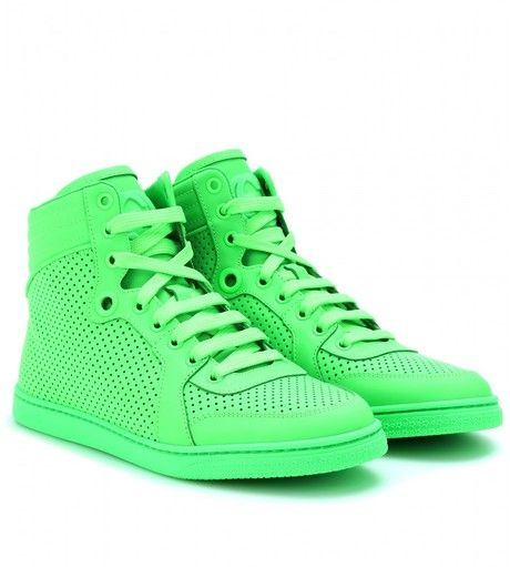 ad780ab66ae GUCCI Green Neon Leather High-Top Sneakers - Lyst