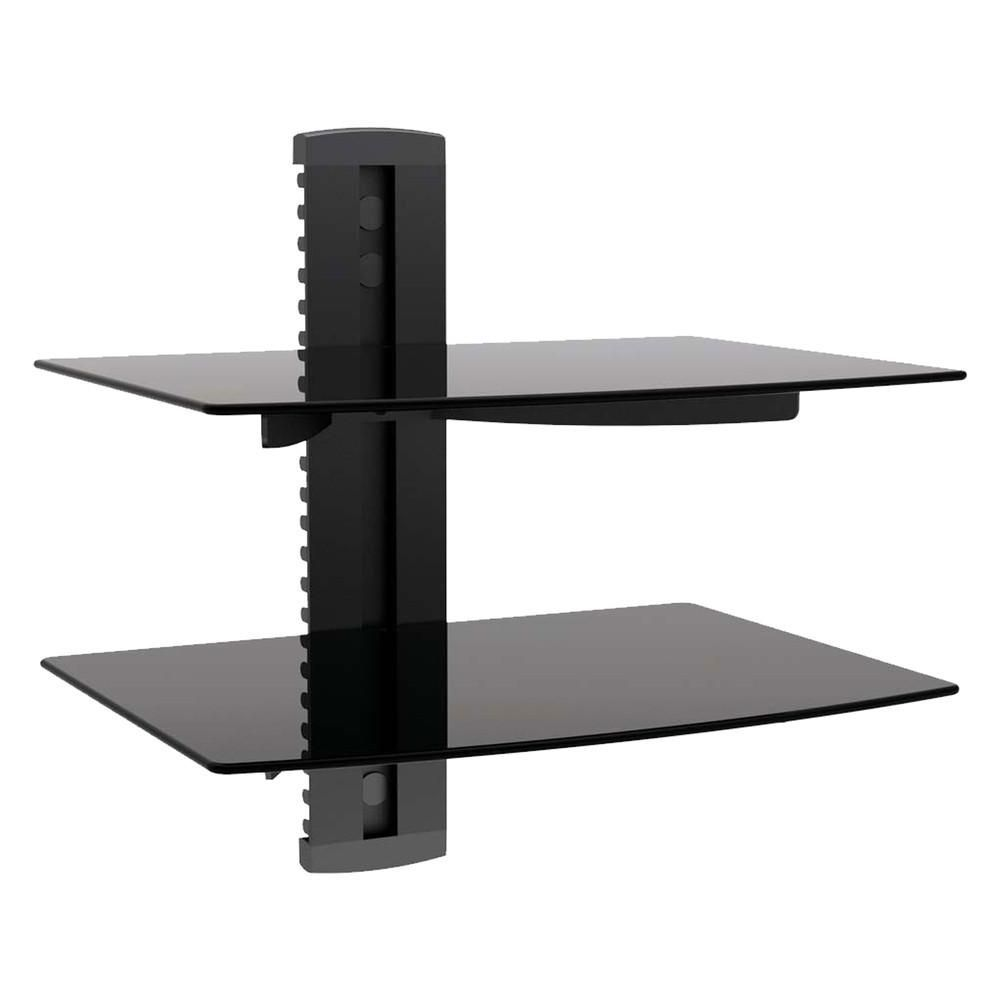 VonHaus Black Floating Shelf with Strengthened Tempered