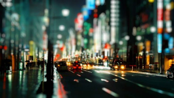 Roads Traffic Cities Architecture Buildings Tiltshift Cars Lights Night People Wallpaper Background