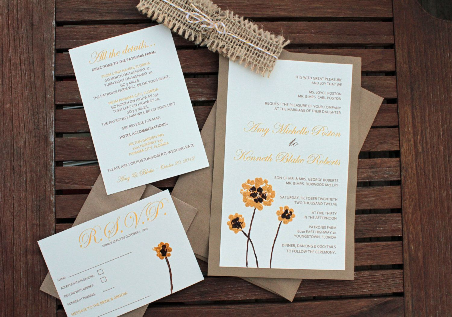 Rustic Chic Handpainted Yellow Flower Wedding Invitation with Brown ...