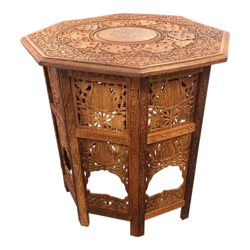 Moroccan Style Hand Carved Teak Tabouret Table In 2020 Moroccan