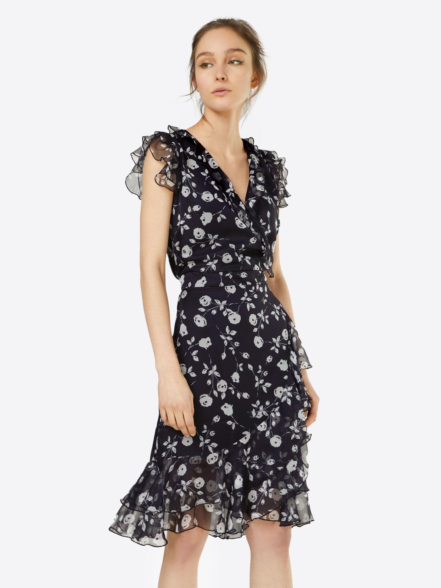 Heine Kleid mit Volants Damen, Schwarz, Größe 12  Kleid mit