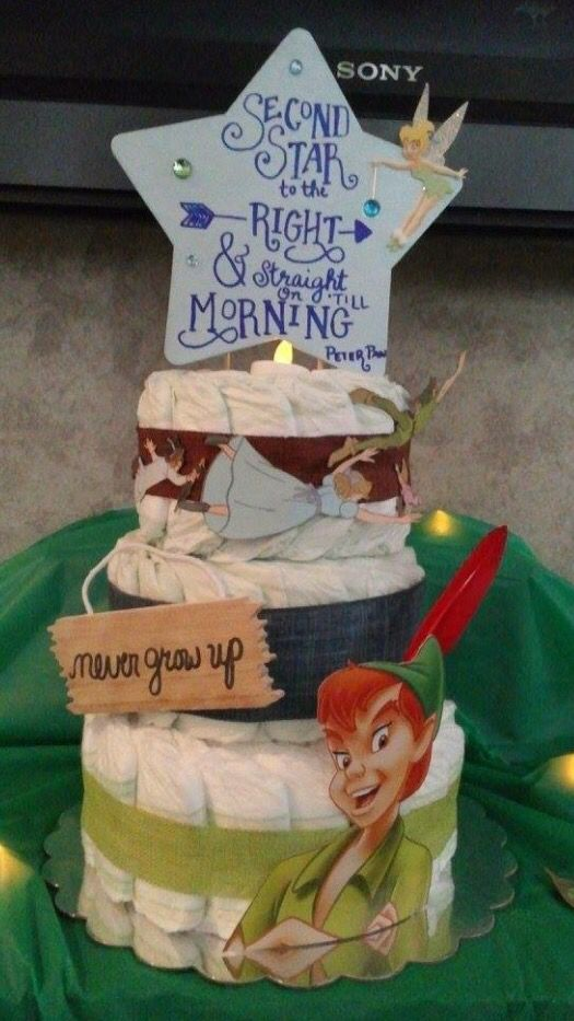 Peter Pan Diaper Cake Diaper Creations Pinterest