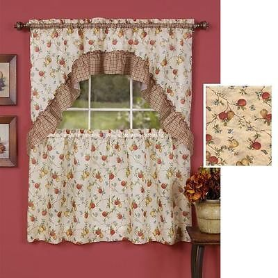 fruit kitchen curtains breakfast nook ideas for small 3 pc classic country tier swag set red green plaid