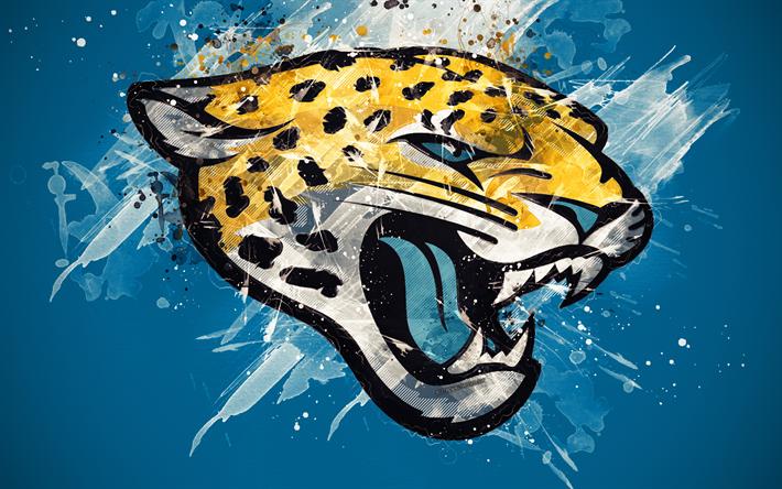 Download Wallpapers Jacksonville Jaguars 4k Logo Grunge Art American Football Team Emblem Blue Background Paint Art Nfl Jacksonville Florida Usa Nat Jacksonville Jaguars Grunge Art Jacksonville Jaguars Logo
