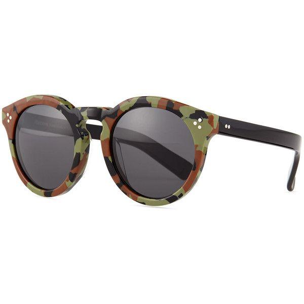 Illesteva Leonard II Sunglasses ($305) ❤ liked on Polyvore featuring accessories, eyewear, sunglasses, camo, round sunglasses, keyhole sunglasses, camouflage sunglasses, acetate glasses и camouflage lens sunglasses