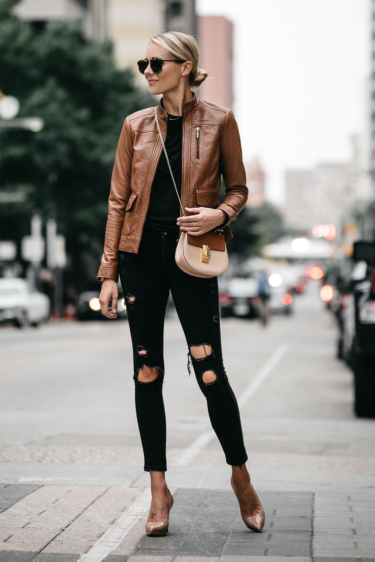 eaba1829cf Blonde Woman Wearing Tan Leather Moto Jacket Black Ripped Skinny Jeans  Outfit Chloe Drew Handbag Christian Louboutin Nude Pumps Fashion Jackson  Dallas ...