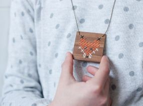 FOX · Wood necklace · Simple and beautiful · Pendant of square wooden with embroidered FOX · Cross-stitch