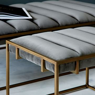 Fontanne Ottoman Bench - Fabric, Grey Washed Velvet