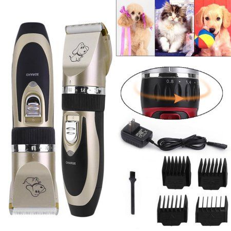Professional Low Noise Cordless Pet Cat Dog Hair Grooming Trimmer Clipper Animal Hair Remover Cutter Comb Brush Kit Gold Dog Grooming Tools Dog Grooming Supplies Dog Grooming