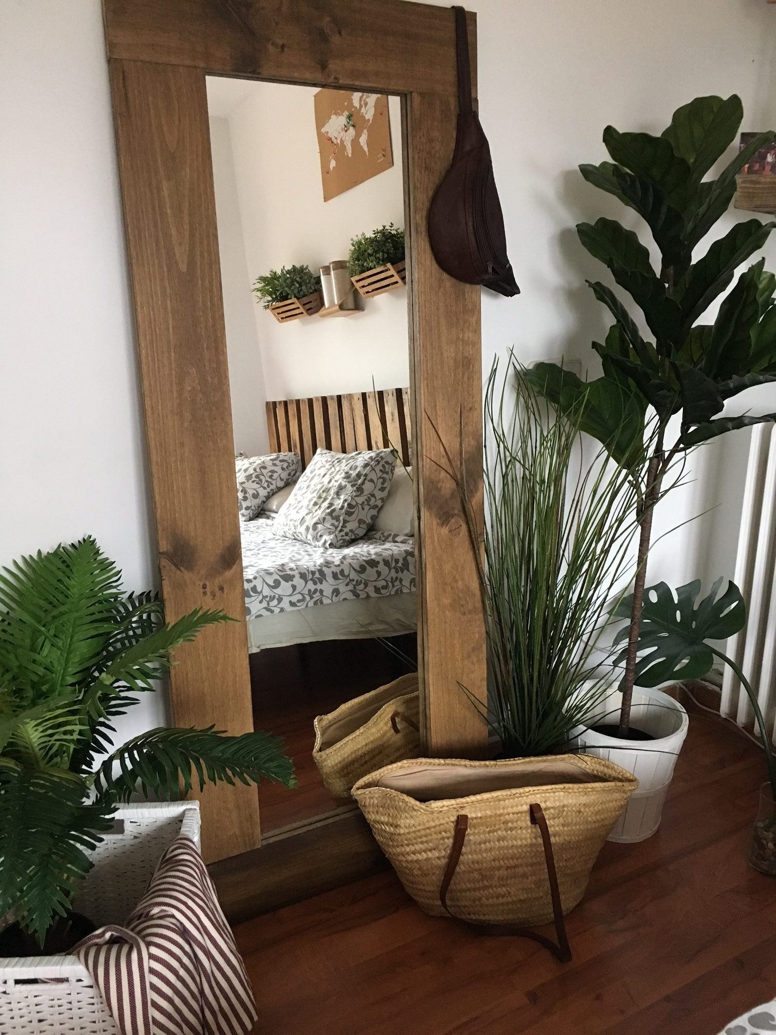 Espejo R Stico De Madera De Pino Natural 70 X 180cm Hannun Bcn  # Muebles De Pino Coghlan
