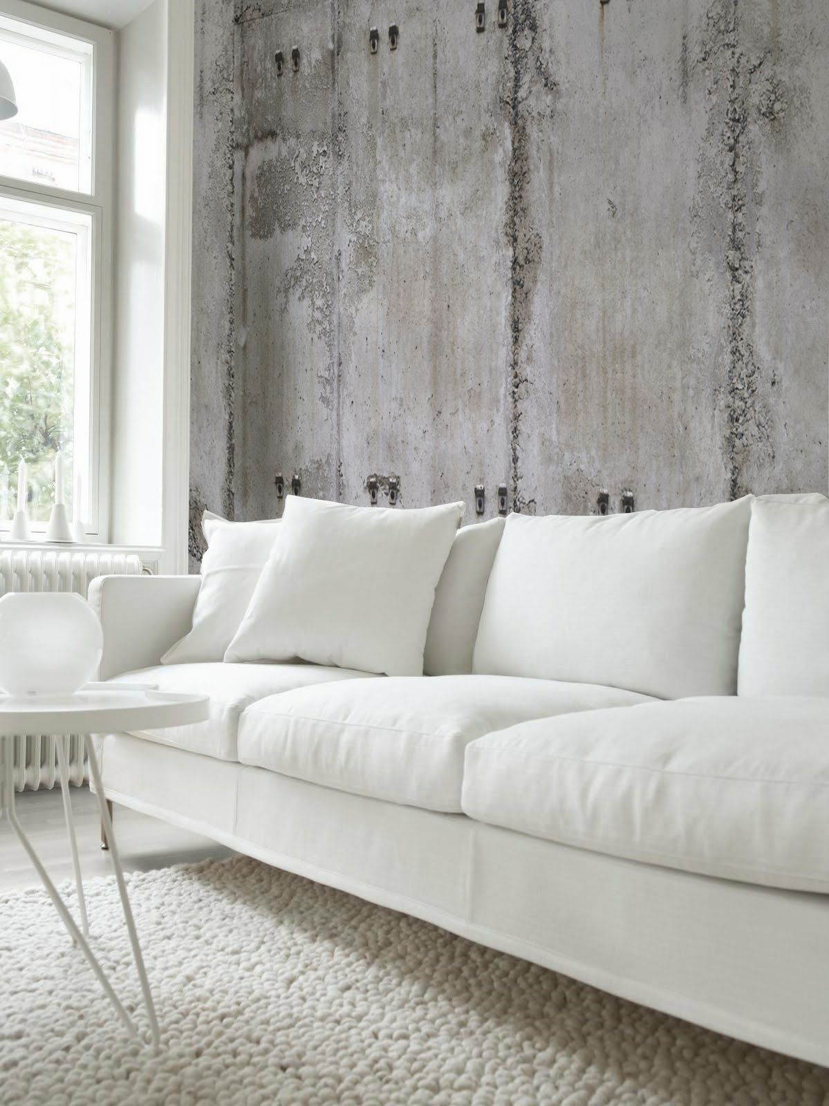 White Room Perfectly Complimented By The Rsw Concrete Wallpaper Urban Rooms Concrete Wall Modern Apartment Design