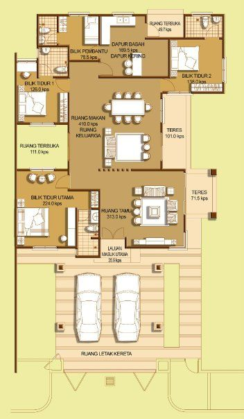 Peraga4 Jpg 352 604 Floor Plans Bungalow House Design House Flooring