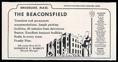 Beaconsfield Hotel Brookline Ma Radio In All 200 Rooms 1956 Travel Tourism Ad