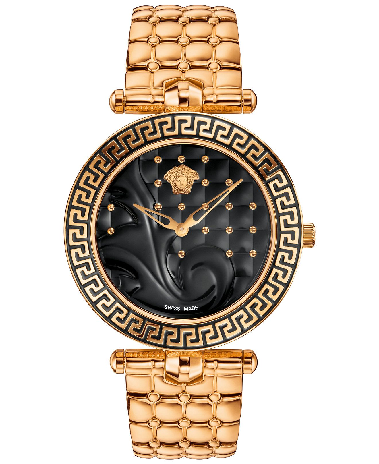 versace watch men s pre owned gianni signature gold medusa versace men s swiss rose gold tone ion plated stainless steel bracelet watch 40mm vk723 0015