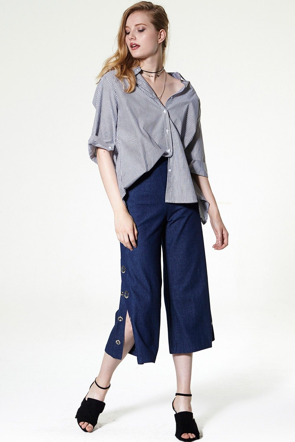 Skyla Button-down Cropped Flare Jeans Discover the latest fashion trends online at storets.com