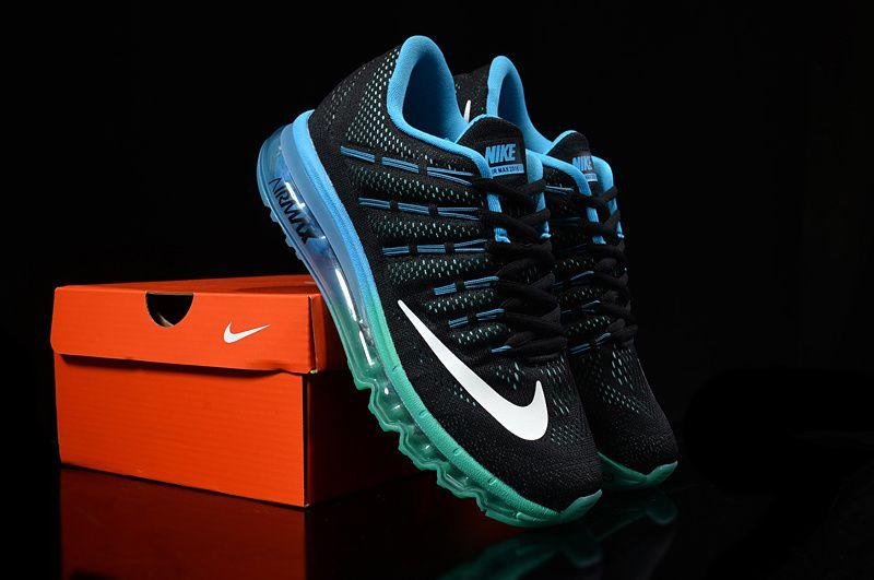 buy popular f330c 15c75 2018 Genuine Unisex Nike Air Max 2016 Black Emerald Green Blue Lagoon