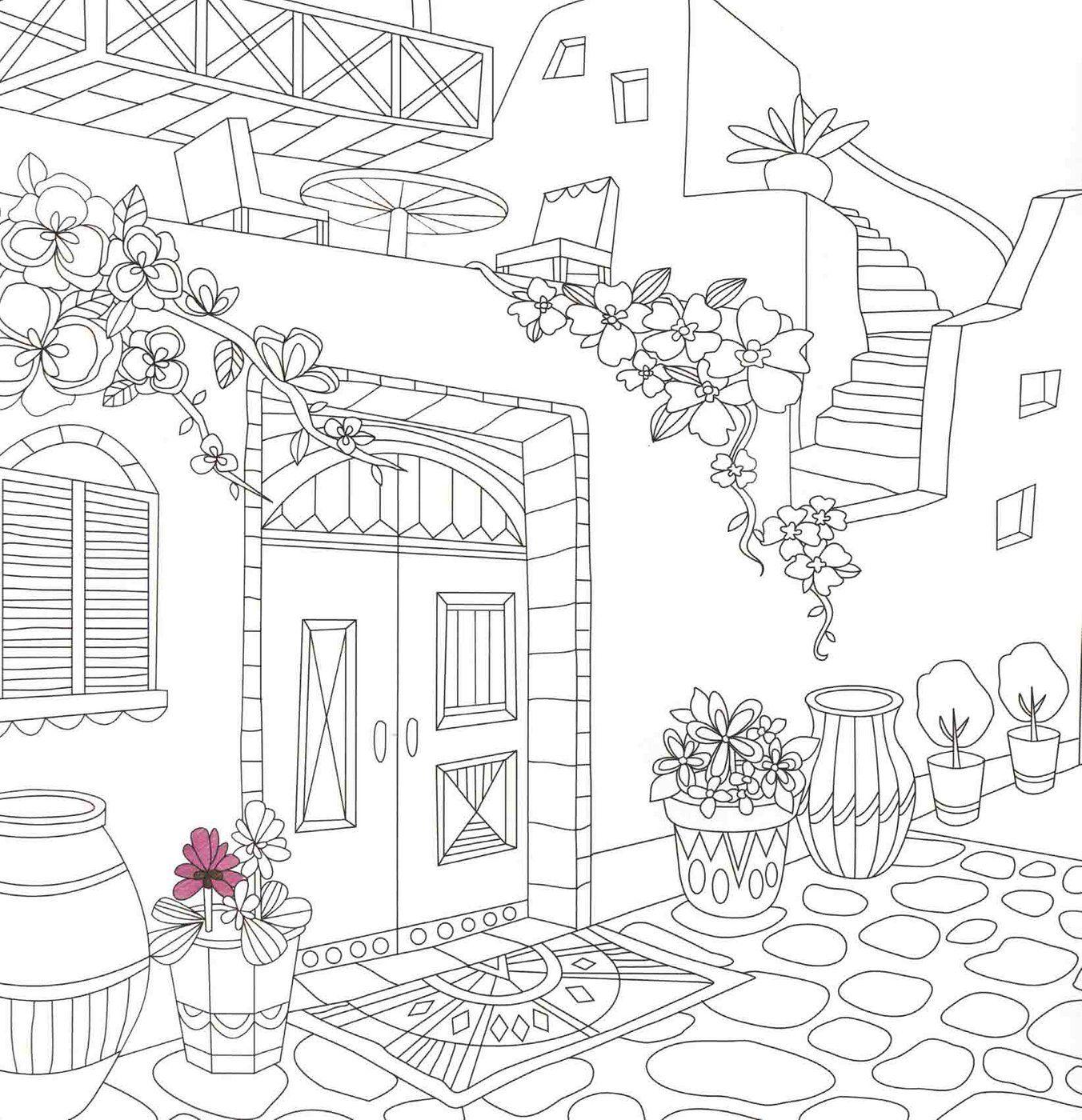 Santorini Coloring Page