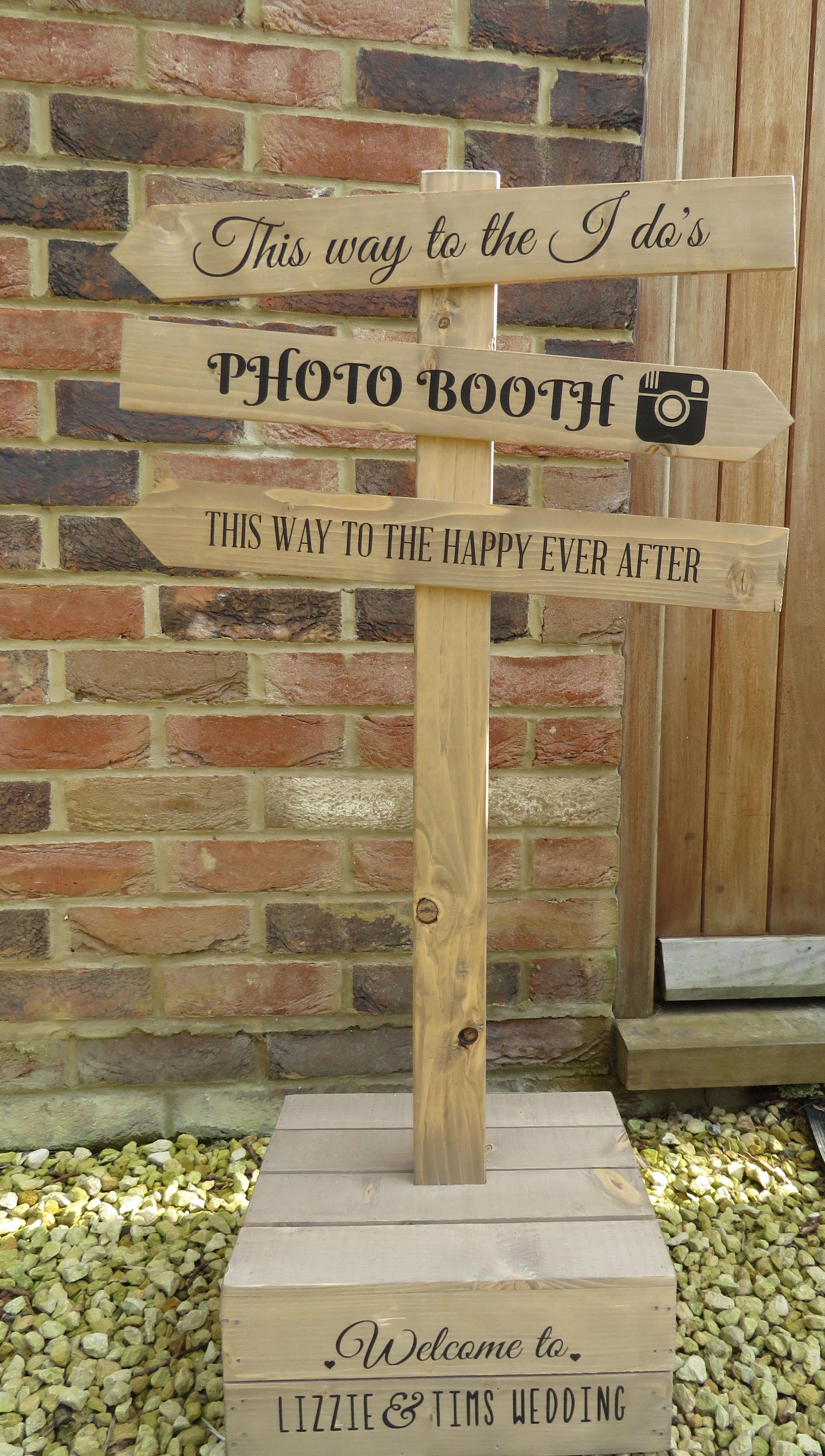 Rustic Wooden Wedding Freestanding Apple Crate Direction Sign Personalised With Y Rustic Wooden Wedding Signs Free Standing Wedding Decorations Wedding Crates