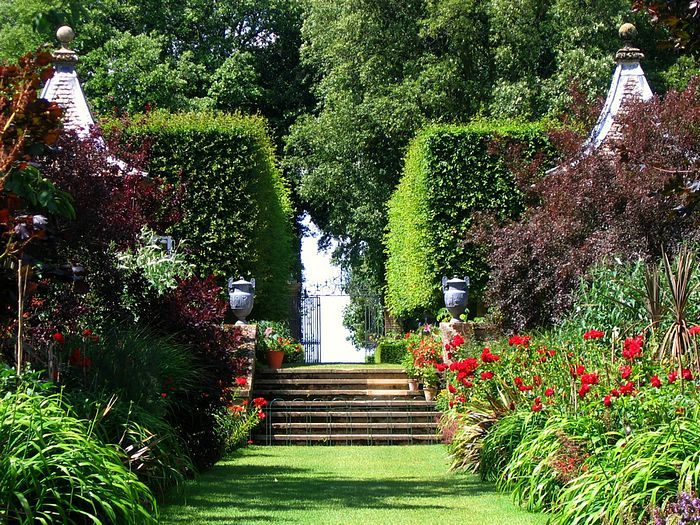 The Famous Red Border at Hidcote in the Cotswolds.