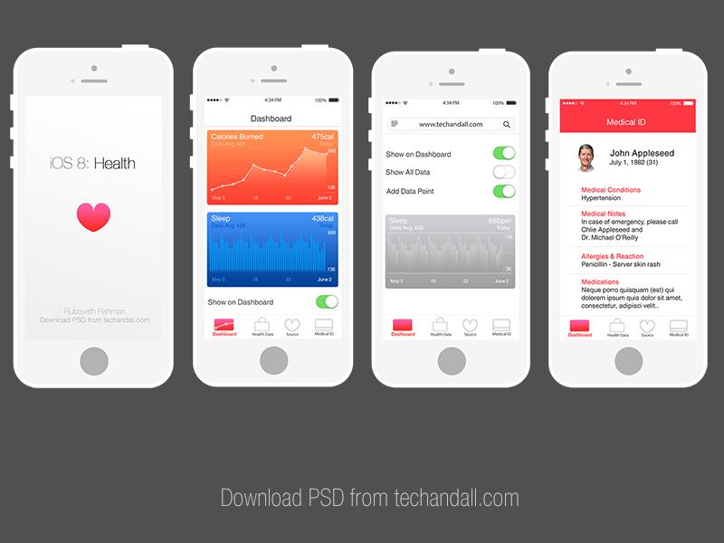 Apple iOS 8 Health App Mockup Health app, Health app