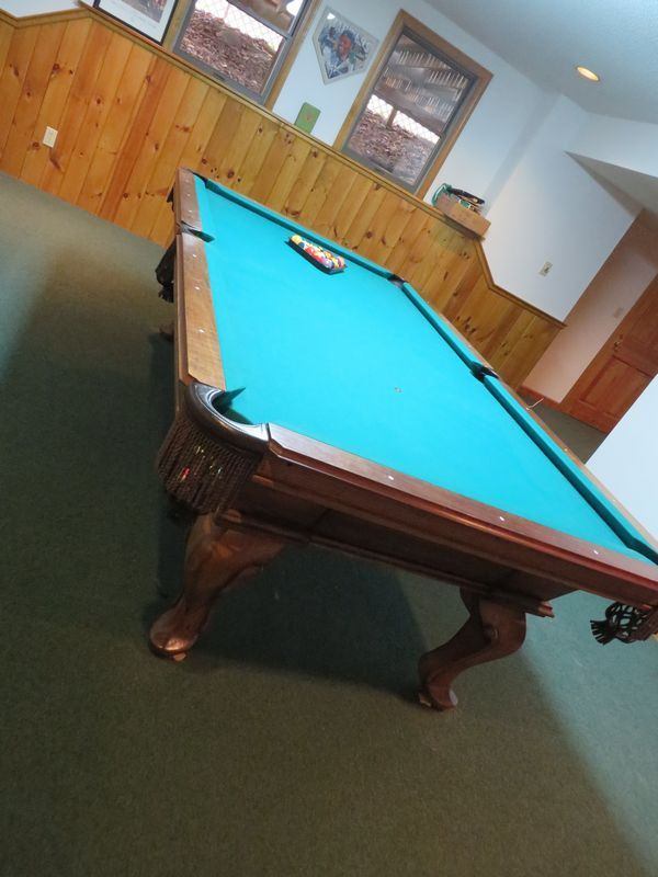 Ornate Wood Billiards Table With Leather And Rope Fringe Pockets And - How heavy is a pool table