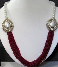 Buy Maroon Pearl Two Side Brooch Jhumka necklace set necklaceset