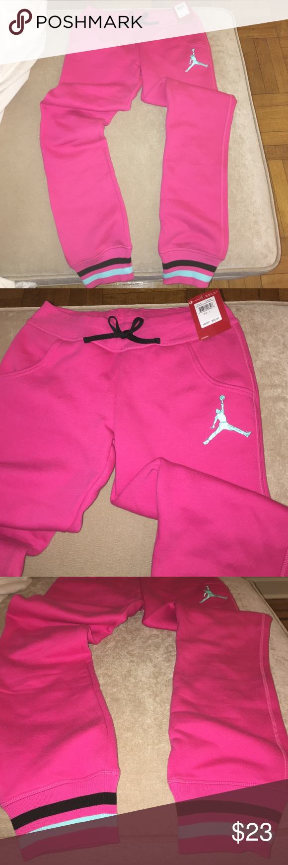 c46f2d613067 Pink Jordan sweatpants Brand new with the tags on! Pink Jordan sweatpants  with teal jumpman. Cotton material. Jordan Pants Track Pants   Joggers