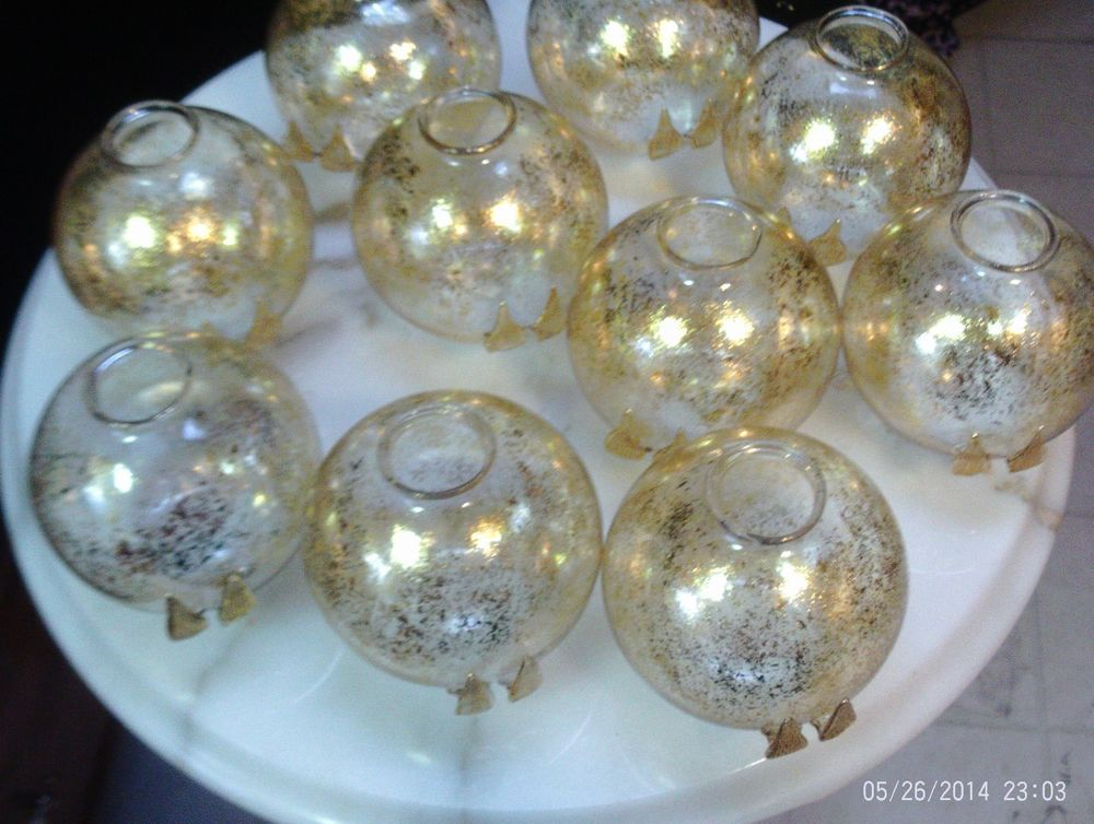 Mercury Glass Decorative Balls Set Of 10 Rocmercury Glass Gold Speckled Balls Antique Taiwan