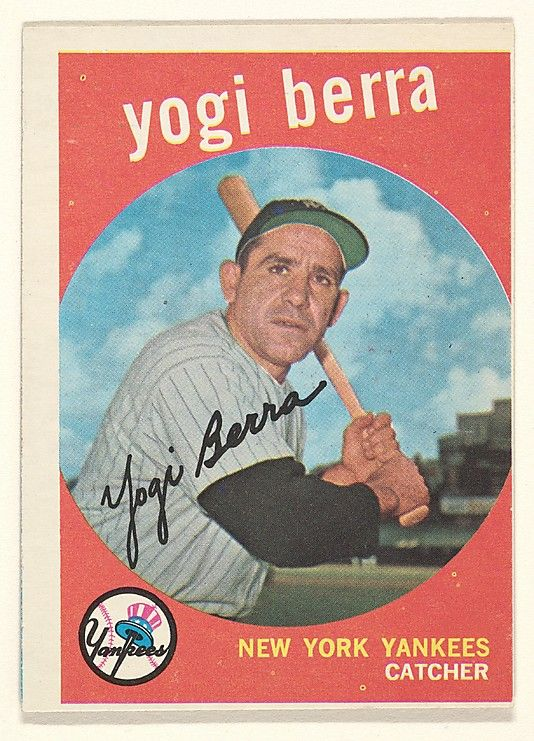 "Photo of Issued by Topps Chewing Gum Company | Yogi Berra, Catcher, New York Yankees, from the ""1959 Topps Regular Issue"" series (R414-14), issued by Topps Chewing Gum Company. 