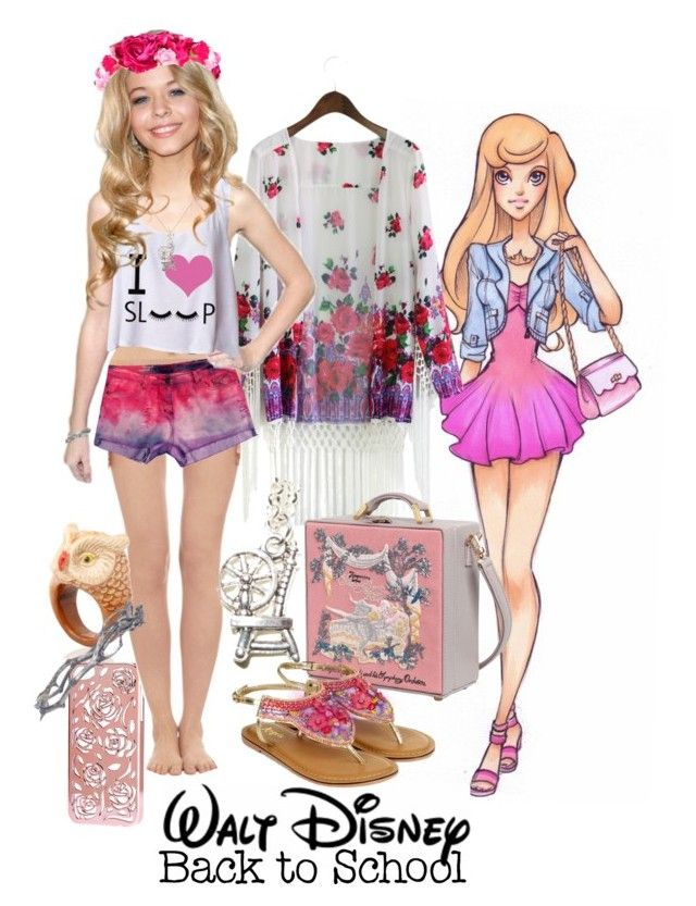 """""""Aurora"""" by charlottehansen on Polyvore featuring Disney, Chicwish, H&M, La Perla, Nach, Olympia Le-Tan and Pearls Before Swine"""