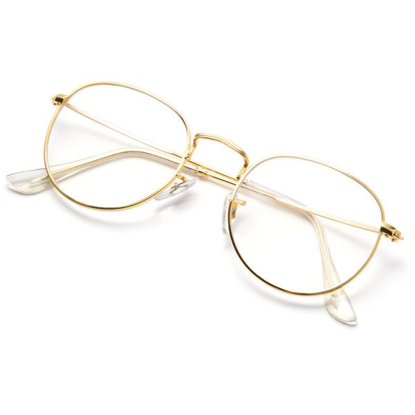 Gold Frame Clear Lens Glasses ($5.99) ❤ liked on Polyvore featuring ...