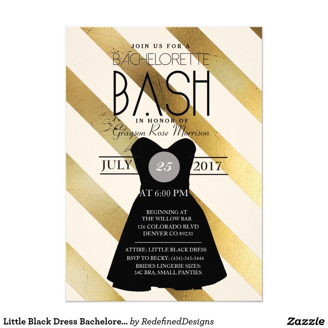 Little Black Dress Bachelorette Bash | Party Card | Bachelorette ...