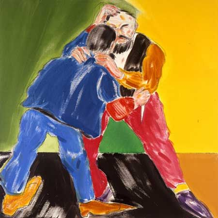 Arabs and Jews (After Ensor), 2004 Oil on canvas, 36 x 36 in, © R. B. Kitaj Photograph courtesy of Marlborough Gallery, London
