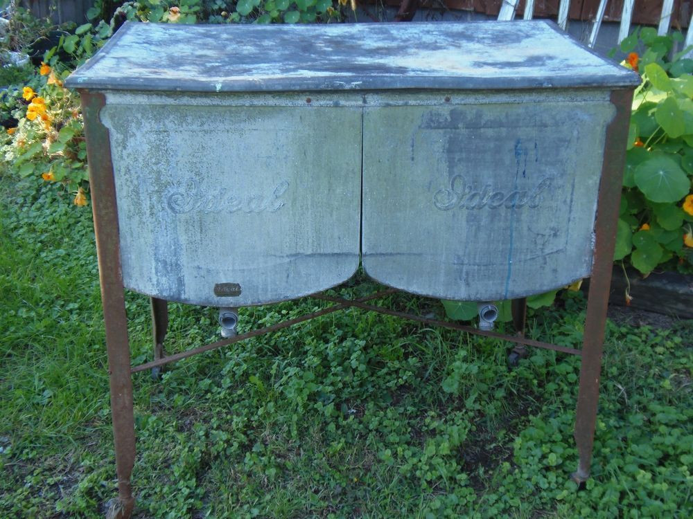 Vintage Galvanized Wash Tub With Lid 1931 Ideal Double Tubs Country Ideal Wash Tubs Galvanized Wash Tub Galvanized